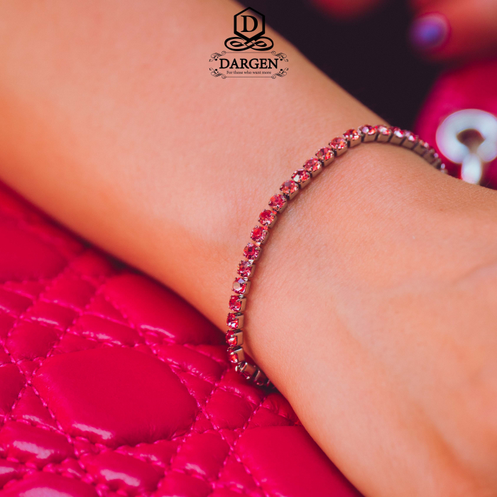Bratara Tennis Alpine Pink din otel inoxidabil si diamante CZ DRGB0078 DarGen 1