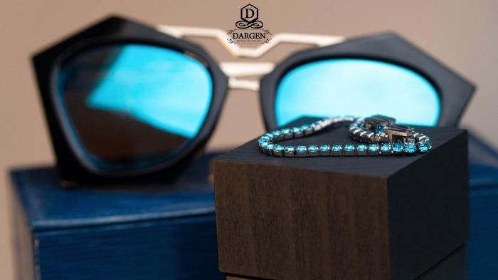 Bratara Tennis Alpine Turquoise din otel inoxidabil si diamante CZ DRGB0079 DarGen 3