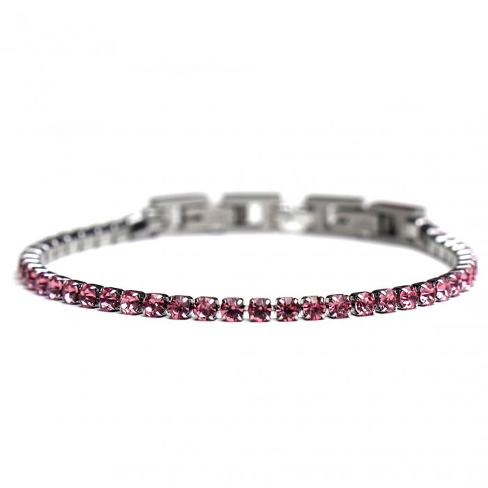 Bratara Tennis Alpine Pink din otel inoxidabil si diamante CZ DRGB0078 DarGen 0
