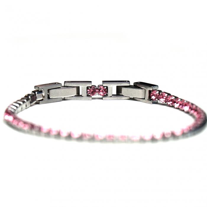 Bratara Tennis Alpine Pink din otel inoxidabil si diamante CZ DRGB0078 DarGen 5