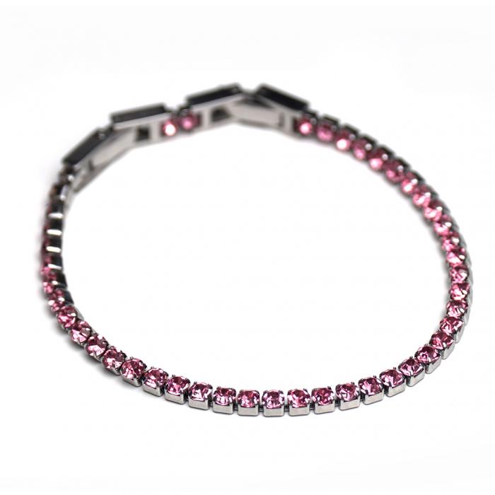 Bratara Tennis Alpine Pink din otel inoxidabil si diamante CZ DRGB0078 DarGen 4