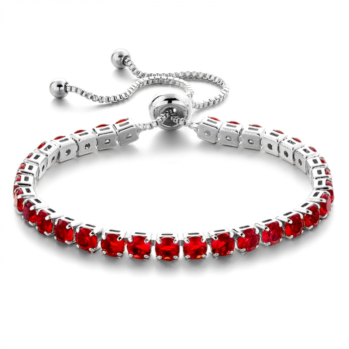 Bratara Tennis Alpine Red Ajustabila din otel inoxidabil si diamante CZ DRGB0089 DarGen 0