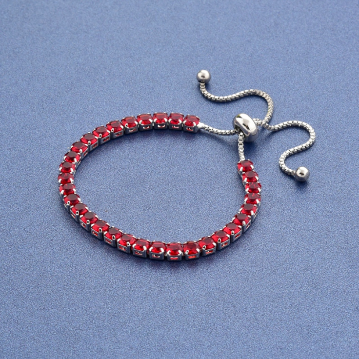 Bratara Tennis Alpine Red Ajustabila din otel inoxidabil si diamante CZ DRGB0089 DarGen 3