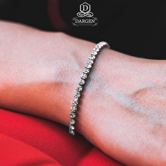 Bratara Tennis Alpine Silver din otel inoxidabil si diamante CZ DRGB0035 DarGen 1