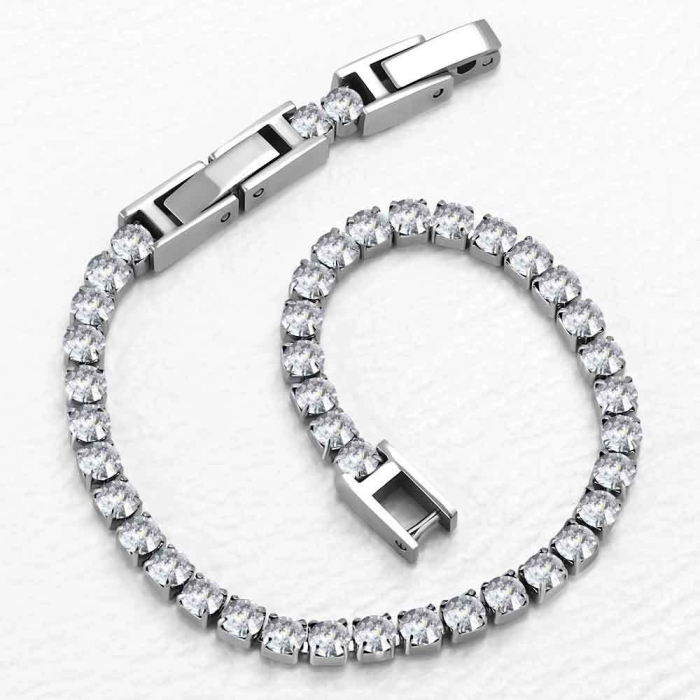 Bratara Tennis Alpine Silver din otel inoxidabil si diamante CZ DRGB0035 DarGen 4