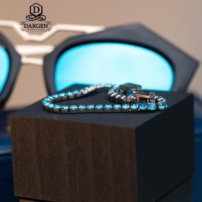Bratara Tennis Alpine Turquoise din otel inoxidabil si diamante CZ DRGB0079 DarGen 9