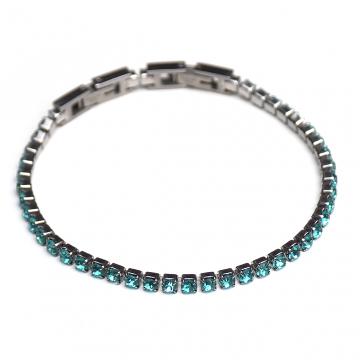 Bratara Tennis Alpine Turquoise din otel inoxidabil si diamante CZ DRGB0079 DarGen 0
