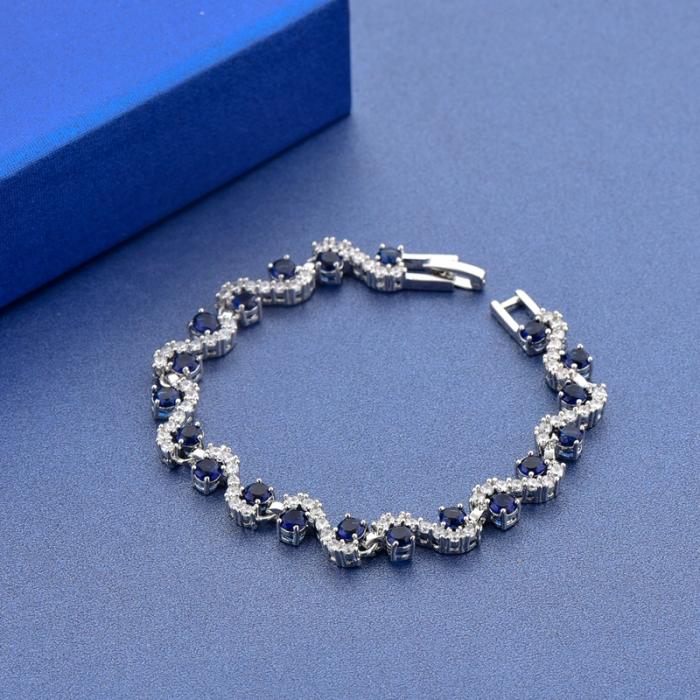 Bratara Melia Blue din otel inoxidabil si diamante CZ DRGB0086 DarGen 7