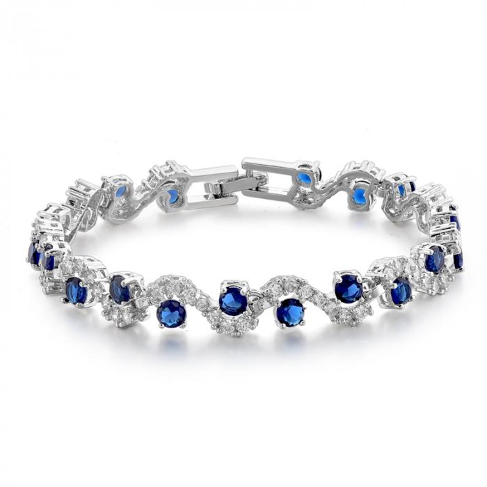 Bratara Melia Blue din otel inoxidabil si diamante CZ DRGB0086 DarGen 0