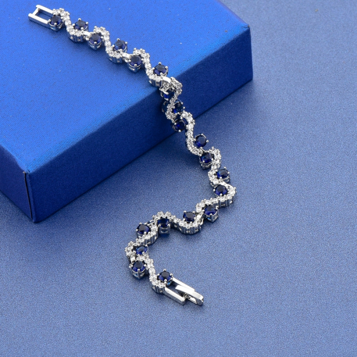 Bratara Melia Blue din otel inoxidabil si diamante CZ DRGB0086 DarGen 8