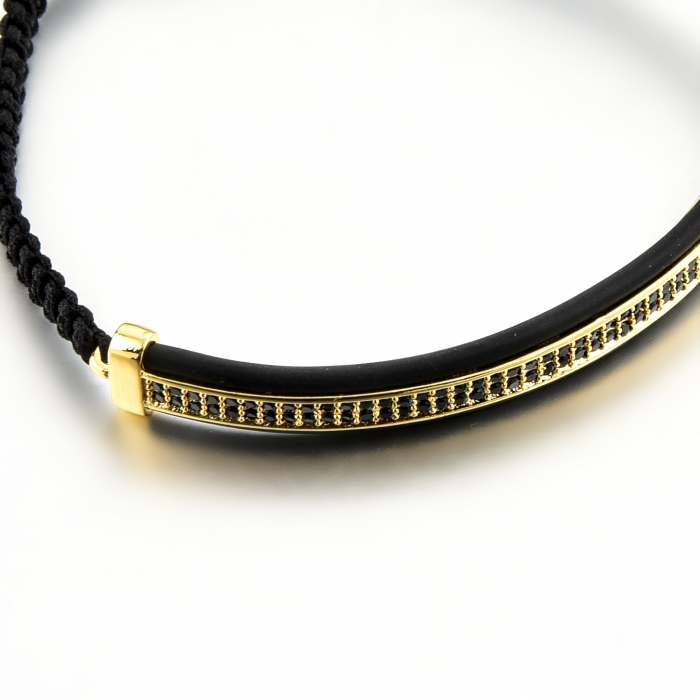 Bratara Ivon din snur si accesoriu din otel inoxidabil placat cu aur DRGB0099 DarGen [9]