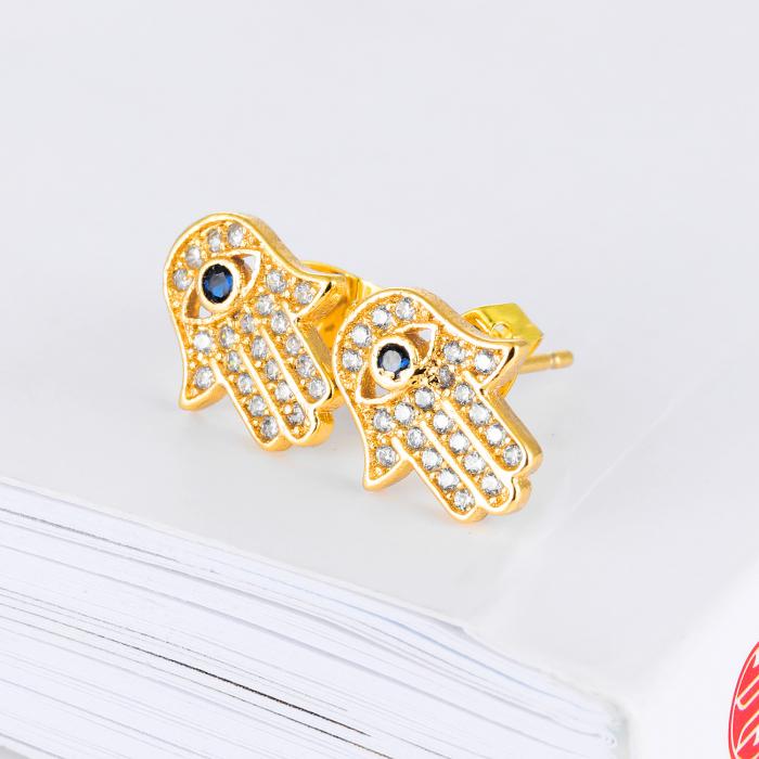 Cercei Attis Gold din otel inoxidabil si diamante CZ DRGC0013 DarGen 1