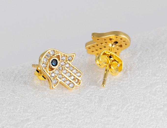Cercei Attis Gold din otel inoxidabil si diamante CZ DRGC0013 DarGen 2