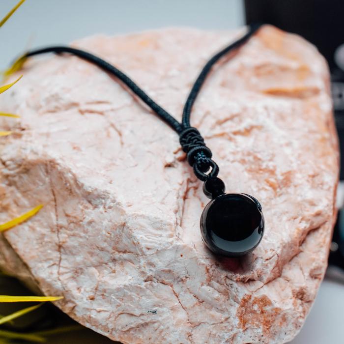 Colier Obsidian din pietre semipretioase DRGL0042 DarGen [7]