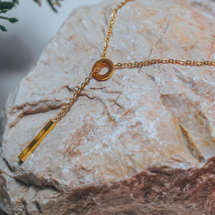 Lantisor cu Pandantiv Davina Gold din otel inoxidabil placat cu aur DRGL0041 DarGen 4