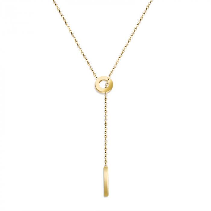Lantisor cu Pandantiv Davina Gold din otel inoxidabil placat cu aur DRGL0041 DarGen 0