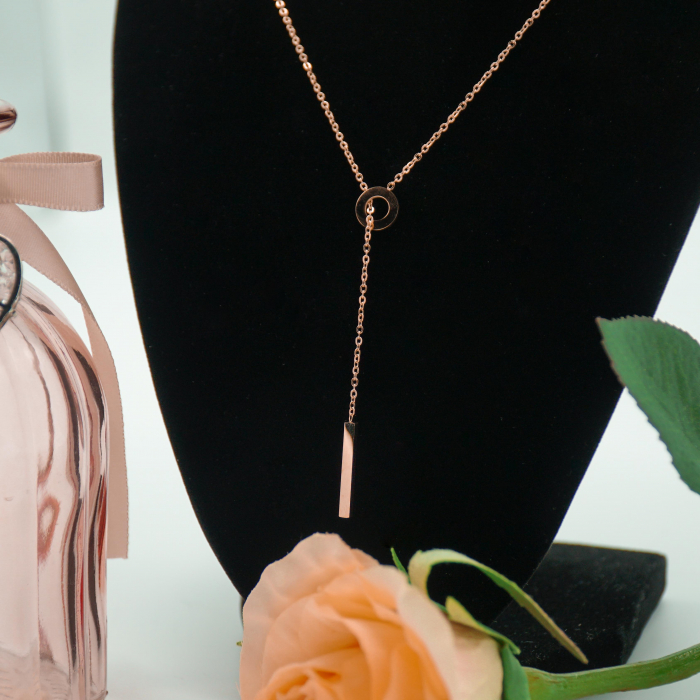 Lantisor cu Pandantiv Davina Rose Gold din otel inoxidabil placat cu aur DRGL0040 DarGen [4]