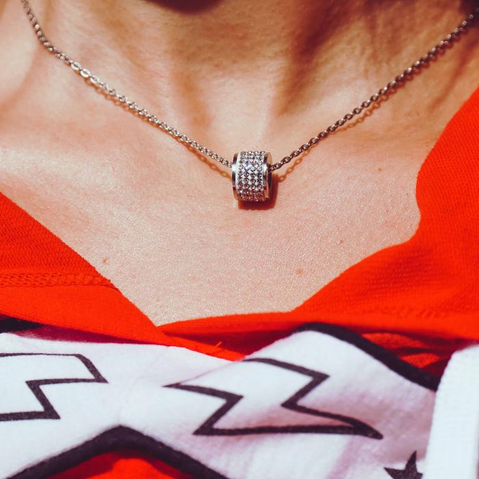 Lantisor cu Pandantiv French din otel inoxidabil si diamante CZ DRGL0029 DarGen 5