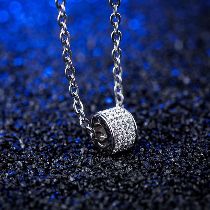 Lantisor cu Pandantiv French din otel inoxidabil si diamante CZ DRGL0029 DarGen 10