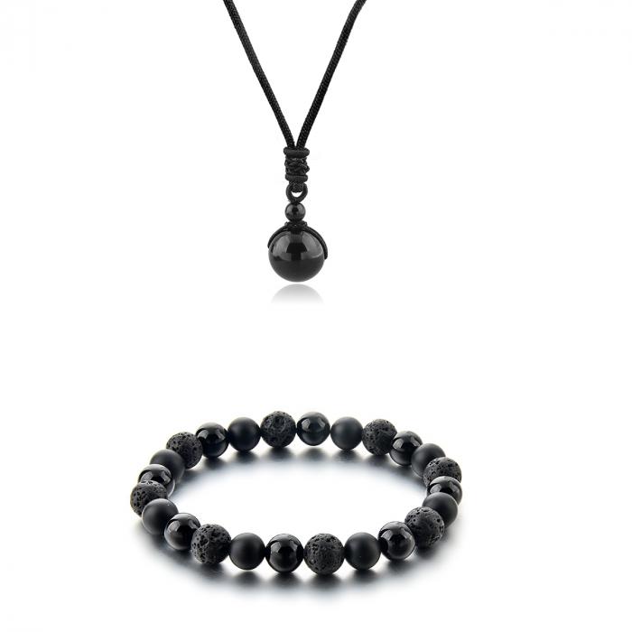Set Bratara Black Onyx 8 mm+Colier Obsidian cu pietre semipretioase DRGSB034 - DarGEN 0