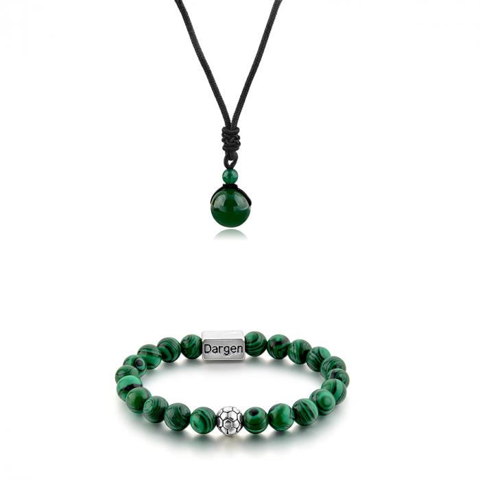 Set Bratara Rolan+Colier Green Agate cu pietre semipretioase  DRGSB030 - DarGEN 0