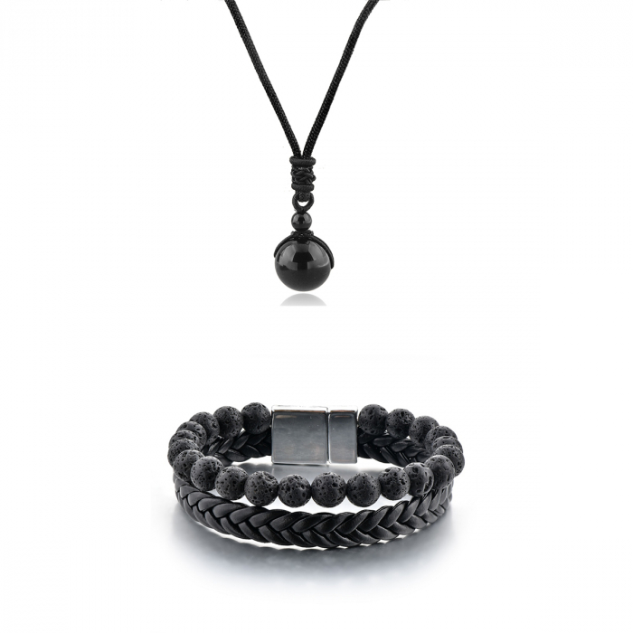 Set Bratara All Black+Colier Obsidian cu pietre semipretioase DRGSB033 - DarGEN 0