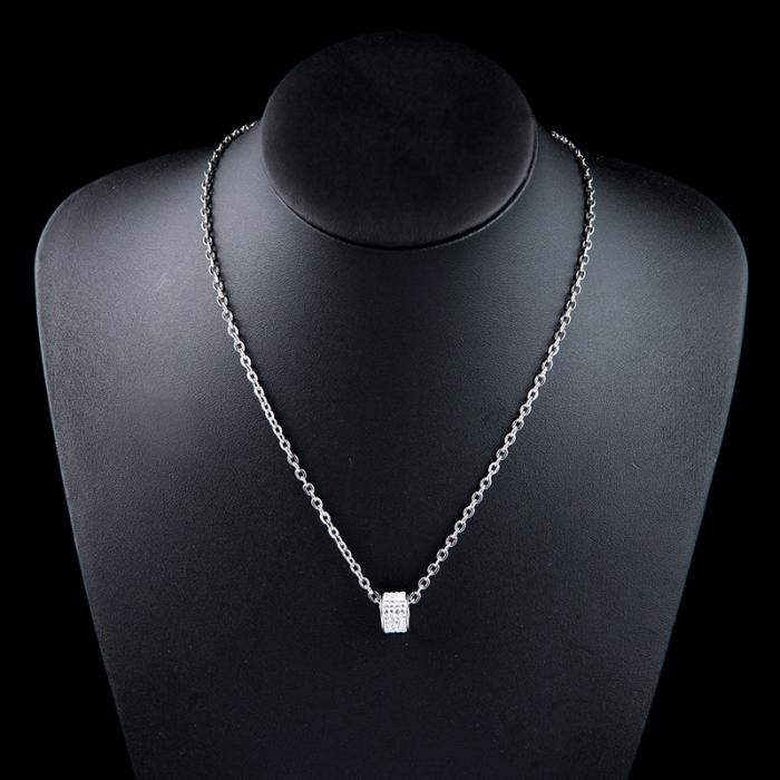Set Lantisor cu Pandantiv French din otel inoxidabil si Bratara Tennis Alpine Silver din otel inoxidabil si diamante CZ DRGSF022 DarGen 10
