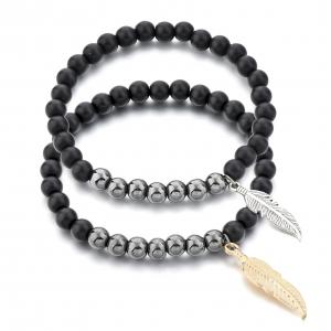 Set 2 Bratari Hematite Feather din pietre semipretioase DRGB0074 DarGen0