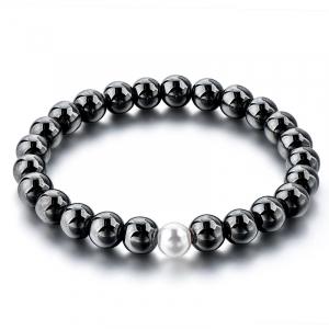 Bratara Hematite Beads Pearl din pietre semipretioase DRGB0069 DarGen