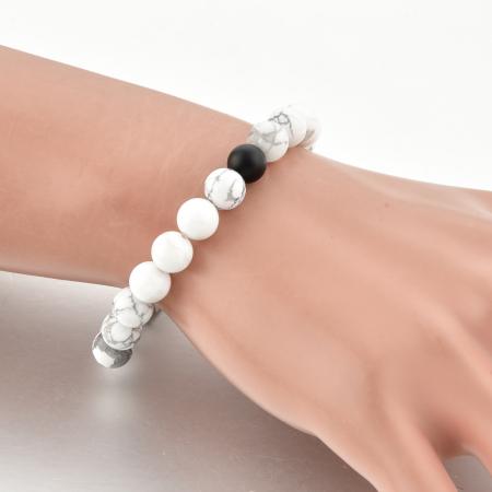 Set Bratari Perfect Balance+Colier White Howlite cu pietre semipretioase DRGSB032 - DarGEN8