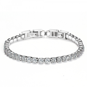 Bratara Tennis Alpine Silver din otel inoxidabil si diamante CZ DRGB0035 DarGen