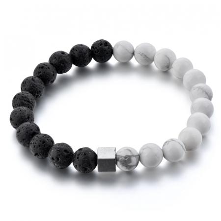 Bratara Black and White din pietre semipretioase DRGB0068 DarGen0