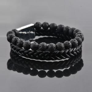 Bratara All Black din pietre vulcanice si piele ecologica DRGB0100 DarGen [8]