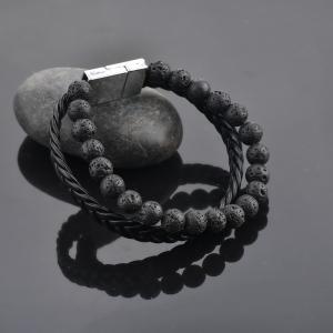 Bratara All Black din pietre vulcanice si piele ecologica DRGB0100 DarGen [10]