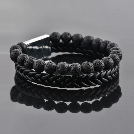 Set Bratara All Black+Colier Obsidian cu pietre semipretioase DRGSB033 - DarGEN3