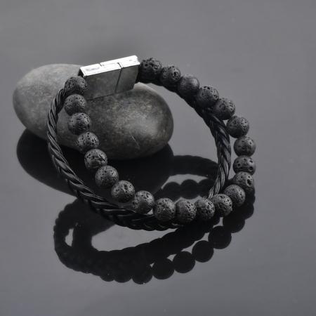 Set Bratara All Black+Colier Obsidian cu pietre semipretioase DRGSB033 - DarGEN7