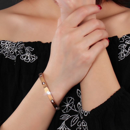 Bratara Adonia Rose Gold din otel inoxidabil si diamante CZ DRGB0150 DarGen1