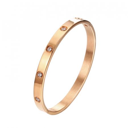 Bratara Adonia Rose Gold din otel inoxidabil si diamante CZ DRGB0150 DarGen0