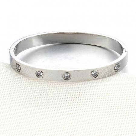 Bratara Adonia Silver din otel inoxidabil si diamante CZ DRGB0148 DarGen2