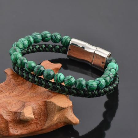 Bratara All Green din pietre malachit si snur impletit DRGB0101 DarGen2