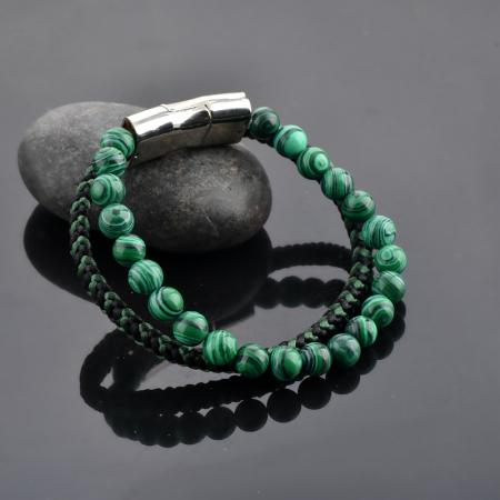 Bratara All Green din pietre malachit si snur impletit DRGB0101 DarGen3