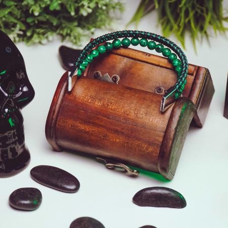 Bratara All Green din pietre malachit si snur impletit DRGB0101 DarGen [5]