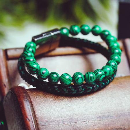 Bratara All Green din pietre malachit si snur impletit DRGB0101 DarGen [3]