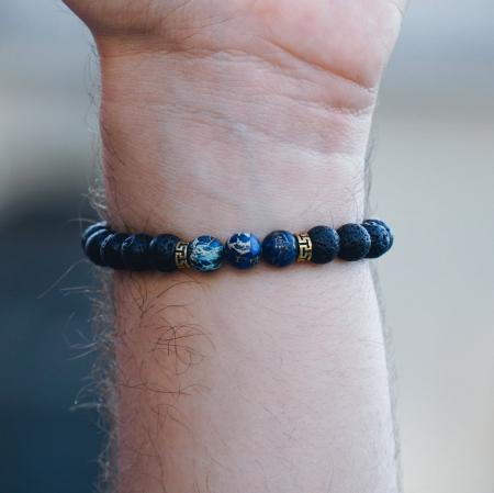 Bratara Blue Emperor din pietre semipretioase DRGB0017 DarGen3