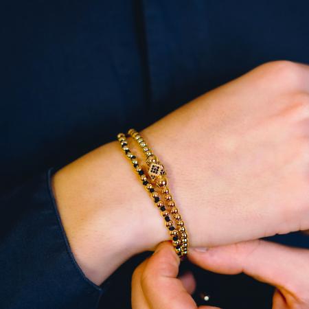 Bratara Daphis Gold din margele din otel inoxidabil placate cu aur DRGB0123 DarGen [3]