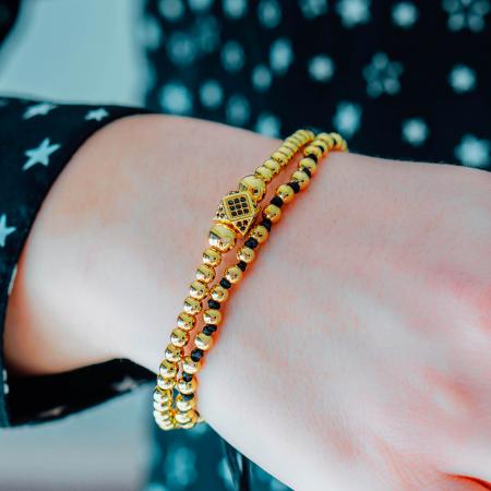 Bratara Daphis Gold din margele din otel inoxidabil placate cu aur DRGB0123 DarGen [2]