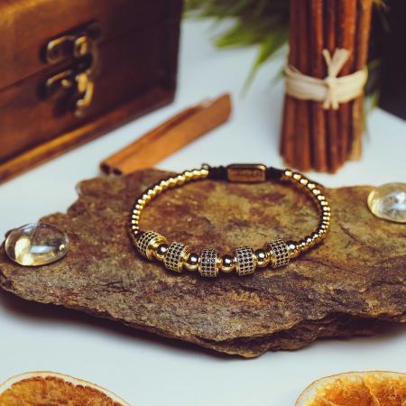 Bratara Eden din pietre semipretioase placate cu aur DRGB0095 DarGen [7]