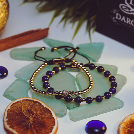 Bratara Ithaca Blue din pietre semipretioase si margele din inox placate cu aur DRGB0127 DarGen [7]