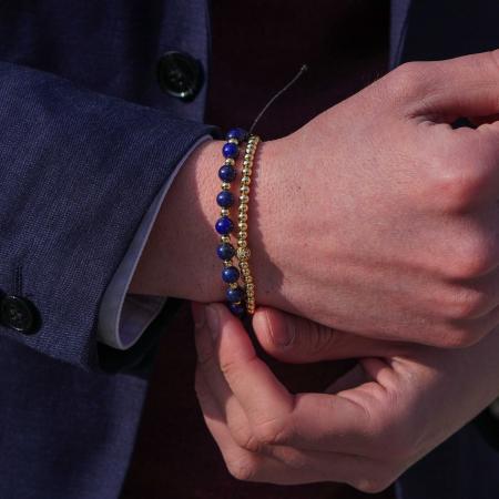 Bratara Ithaca Blue din pietre semipretioase si margele din inox placate cu aur DRGB0127 DarGen [3]