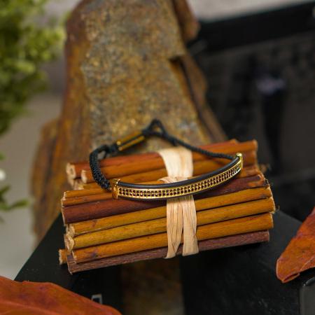 Bratara Ivon din snur si accesoriu din otel inoxidabil placat cu aur DRGB0099 DarGen [6]